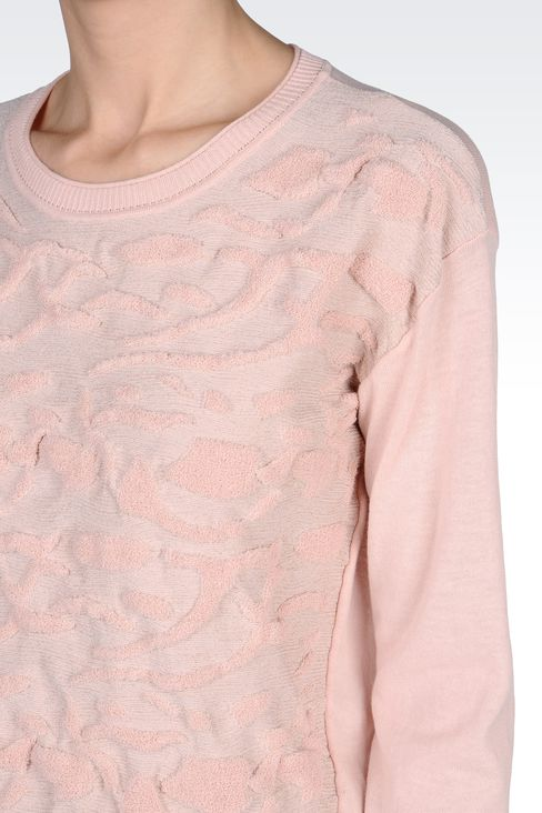 SWEATER IN LUREX COTTON JACQUARD: Crewneck sweaters Women by Armani - 4