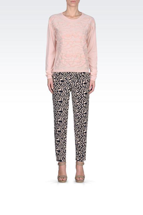 SWEATER IN LUREX COTTON JACQUARD: Crewneck sweaters Women by Armani - 1