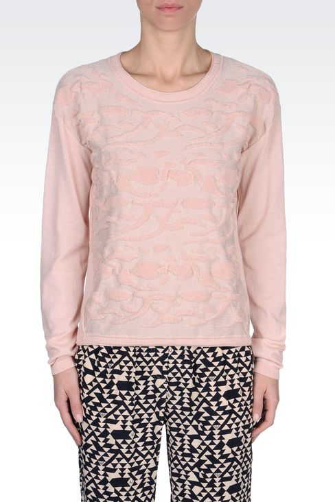 SWEATER IN LUREX COTTON JACQUARD: Crewneck sweaters Women by Armani - 2