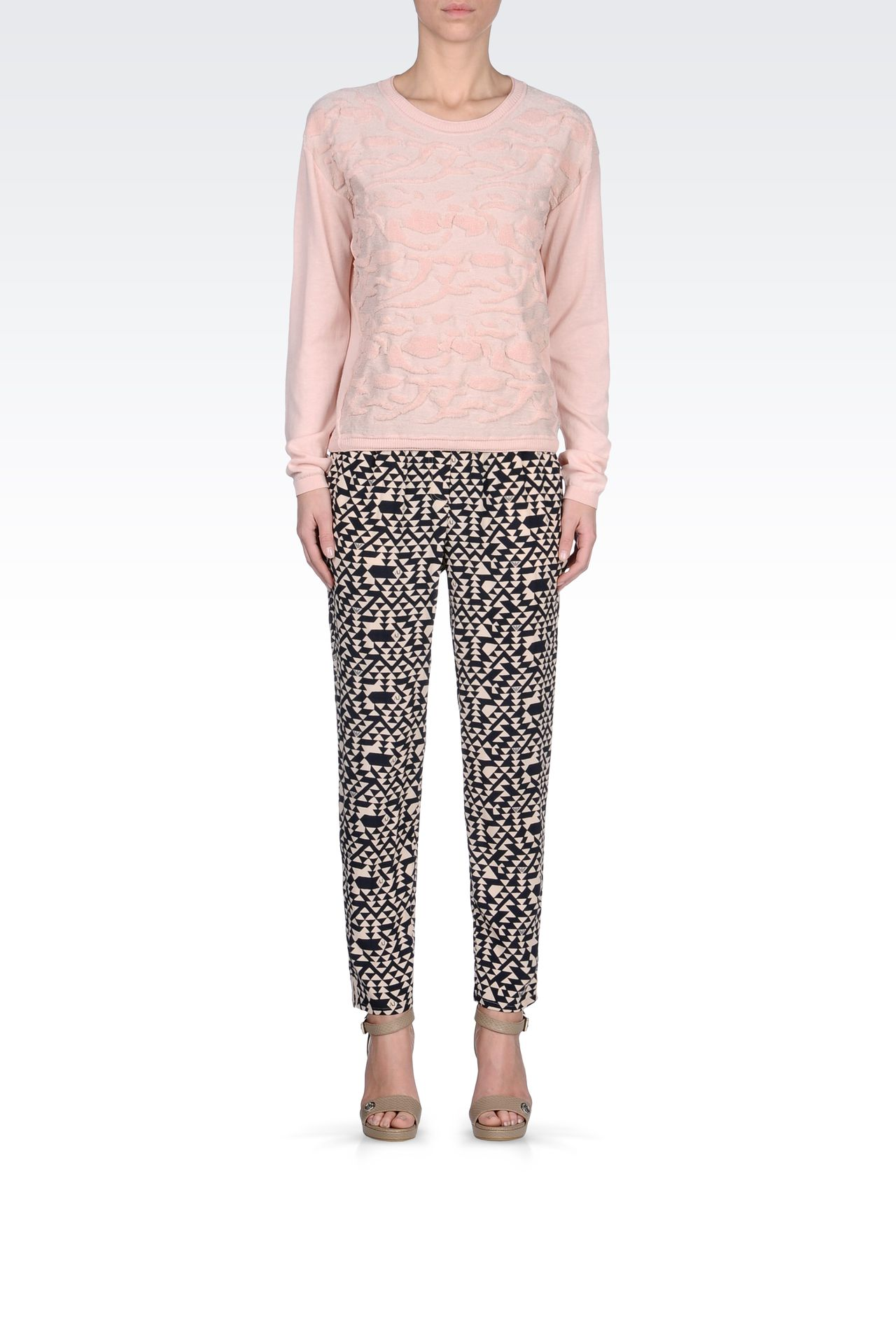 SWEATER IN LUREX COTTON JACQUARD: Crewneck sweaters Women by Armani - 0