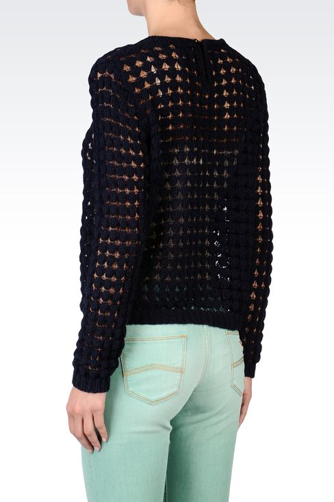CREW NECK MESH EFFECT SWEATER: Crewneck sweaters Women by Armani - 3