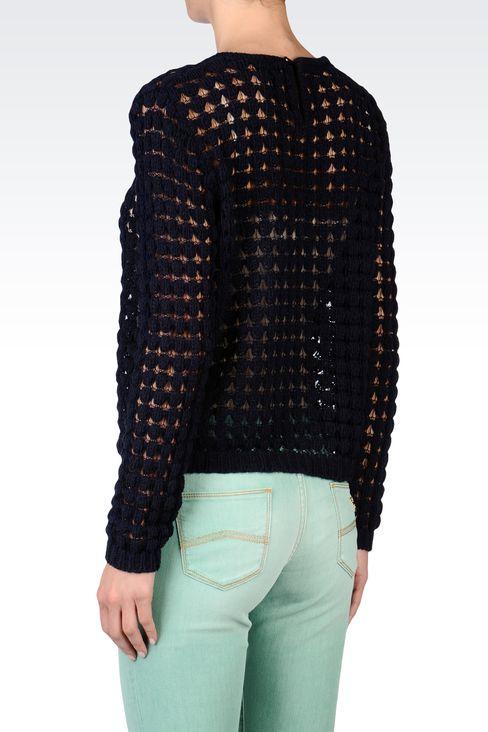 CREW NECK MESH EFFECT SWEATER: Crewneck sweaters Women by Armani - 3