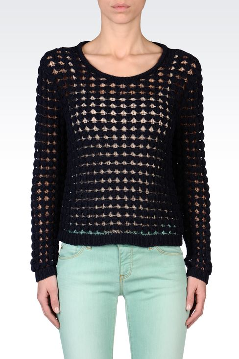CREW NECK MESH EFFECT SWEATER: Crewneck sweaters Women by Armani - 2