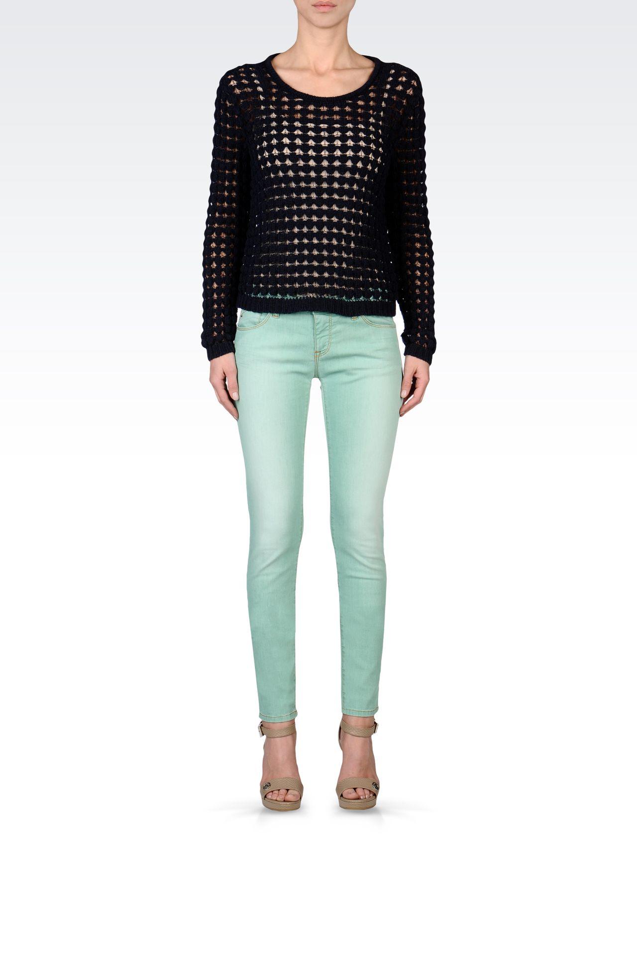 CREW NECK MESH EFFECT SWEATER: Crewneck sweaters Women by Armani - 0