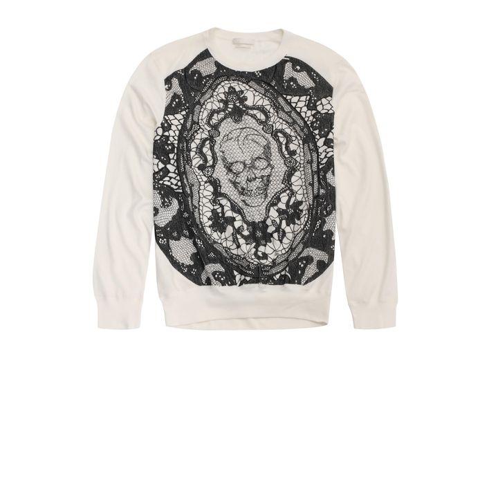 Alexander McQueen, Skull Lace Embroidered Sweatshirt
