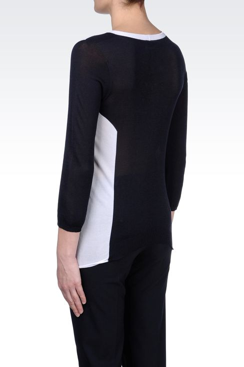 TWO-TONE COTTON AND VISCOSE SWEATER: Crewneck sweaters Women by Armani - 3