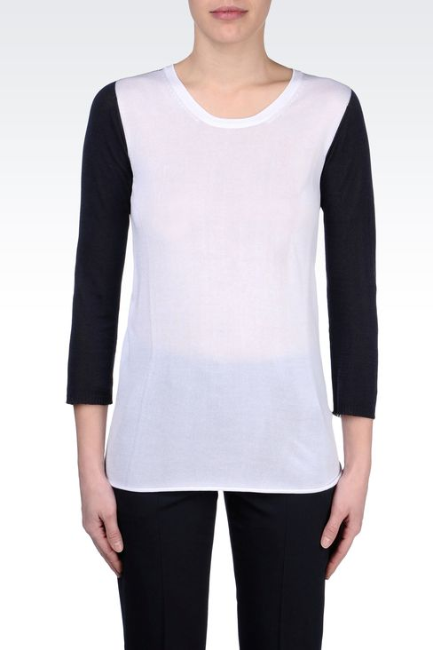 TWO-TONE COTTON AND VISCOSE SWEATER: Crewneck sweaters Women by Armani - 2
