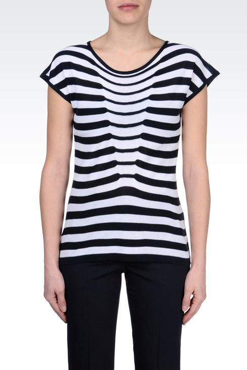 TWO-TONE STRIPED SWEATER: Crewneck sweaters Women by Armani - 2