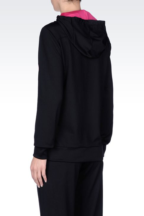 HOODED SWEATSHIRT IN TECHNICAL FABRIC: Hooded sweatshirts Women by Armani - 3