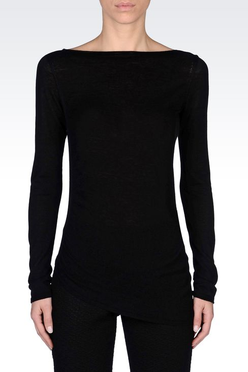 JUMPER IN WOOL AND VISCOSE: Crewneck sweaters Women by Armani - 3