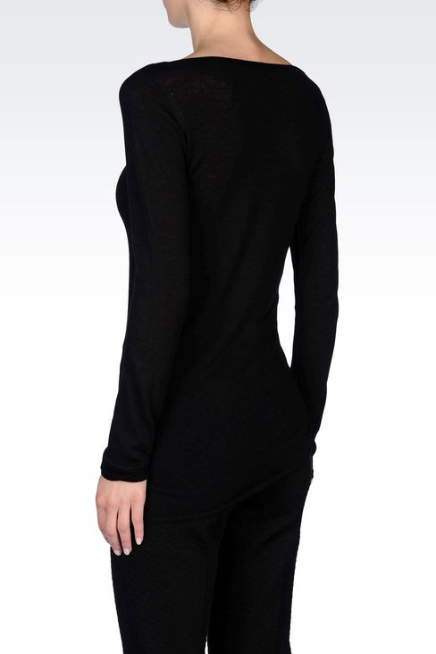 JUMPER IN WOOL AND VISCOSE: Crewneck sweaters Women by Armani - 4