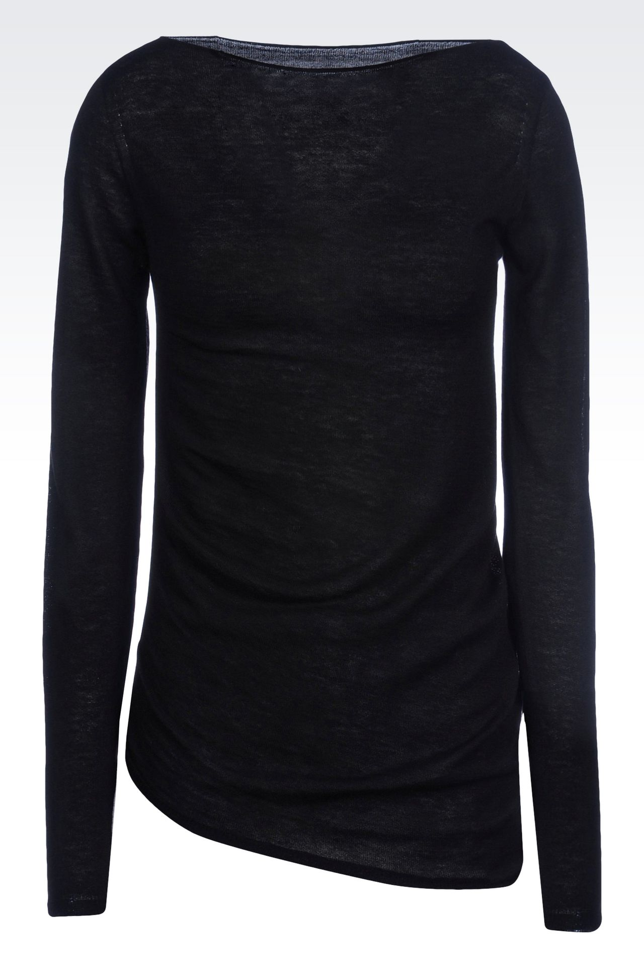 JUMPER IN WOOL AND VISCOSE: Crewneck sweaters Women by Armani - 0