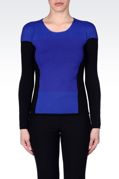 COLOUR BLOCK JUMPER IN VISCOSE BLEND : Crewneck sweaters Women by Armani - 3