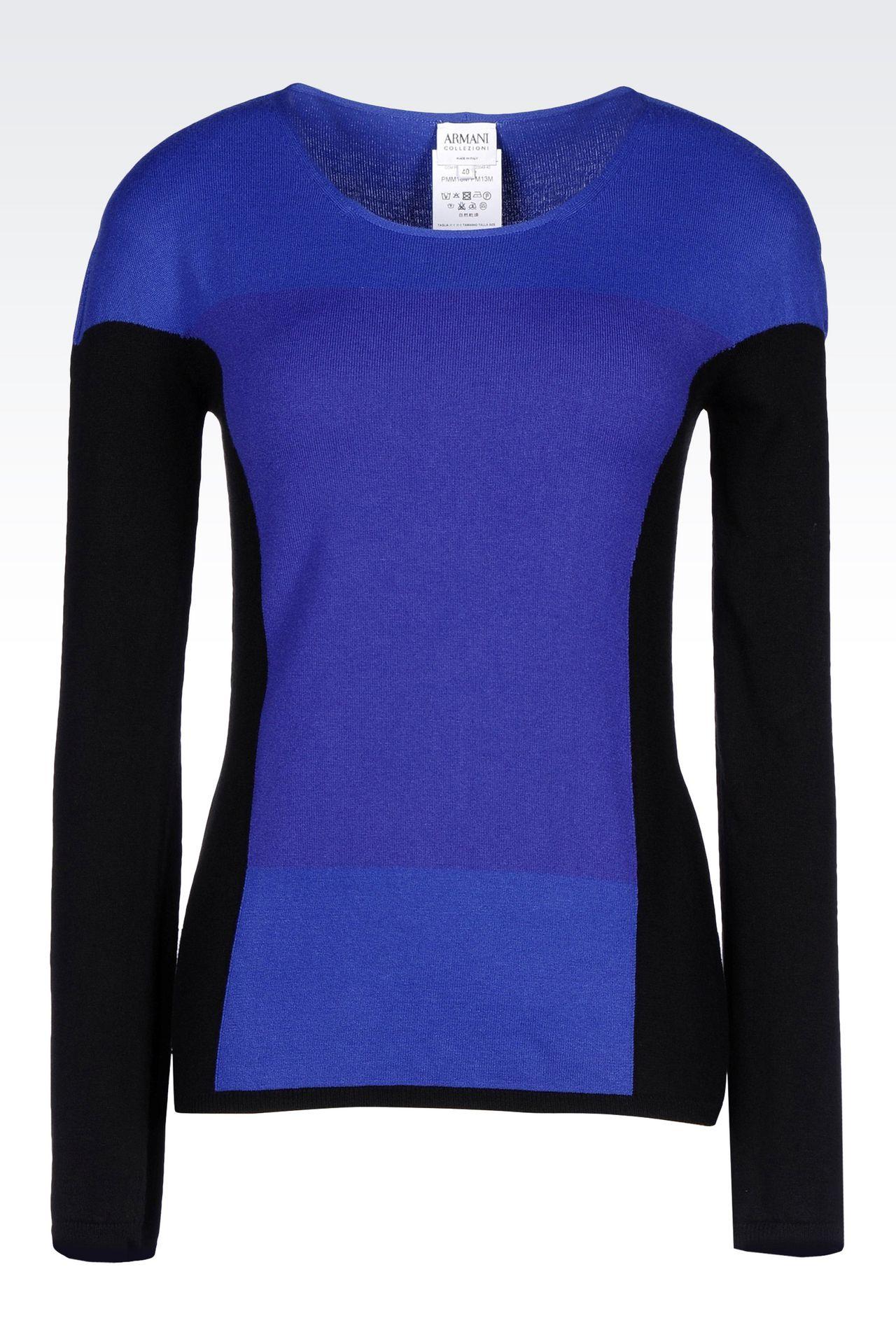 COLOUR BLOCK JUMPER IN VISCOSE BLEND : Crewneck sweaters Women by Armani - 0