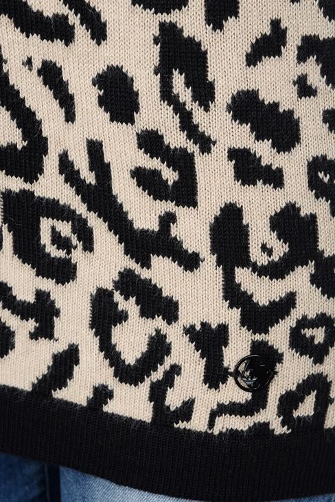 OVERSIZE JUMPER IN ANIMAL PRINT WOOL BLEND: V  neck sweaters Women by Armani - 5
