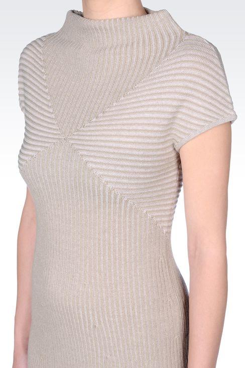 DRESS IN RIBBED VIRGIN WOOL: Short Dresses Women by Armani - 5