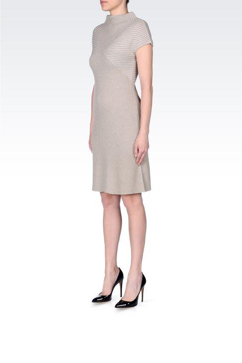 DRESS IN RIBBED VIRGIN WOOL: Short Dresses Women by Armani - 3