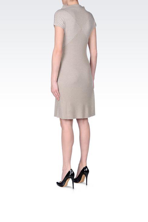 DRESS IN RIBBED VIRGIN WOOL: Short Dresses Women by Armani - 4
