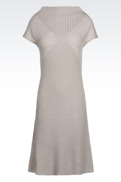 DRESS IN RIBBED VIRGIN WOOL: Short Dresses Women by Armani - 1