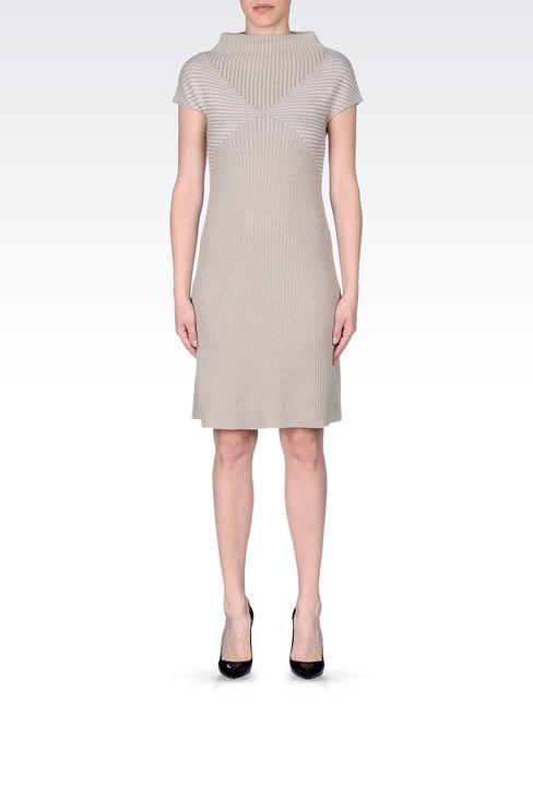 DRESS IN RIBBED VIRGIN WOOL: Short Dresses Women by Armani - 2