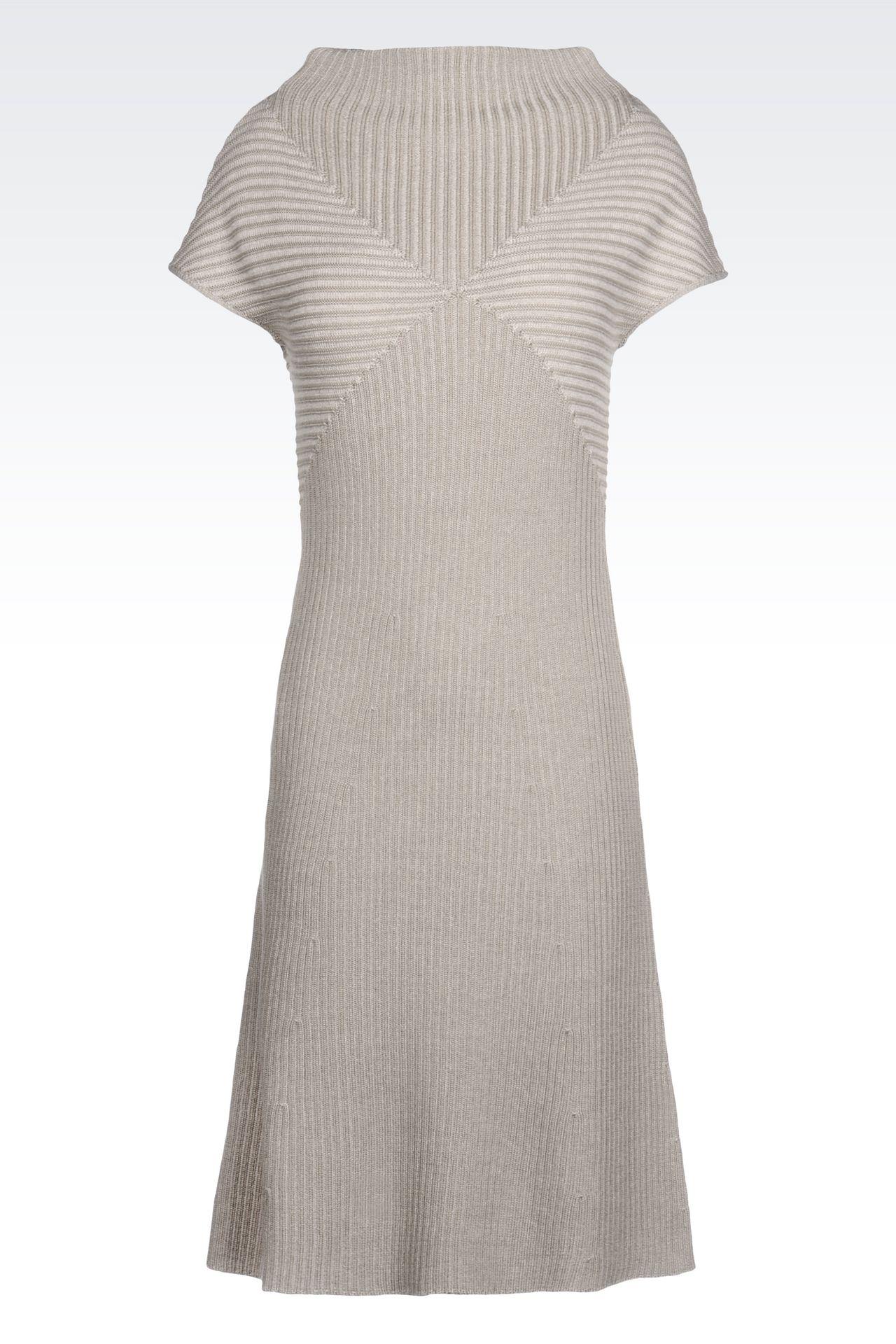 DRESS IN RIBBED VIRGIN WOOL: Short Dresses Women by Armani - 0