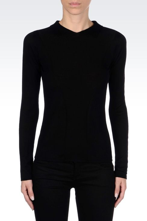 VIRGIN WOOL JUMPER WITH SHIRT COLLAR: Polo sweaters Women by Armani - 3