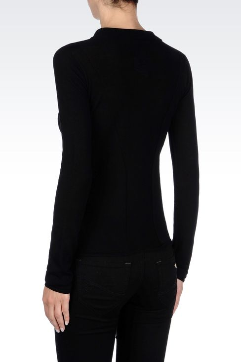 VIRGIN WOOL JUMPER WITH SHIRT COLLAR: Polo sweaters Women by Armani - 4