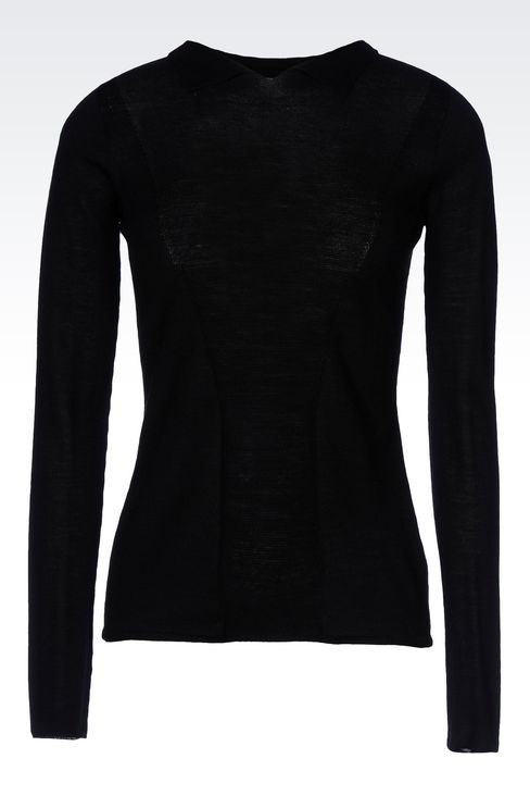 VIRGIN WOOL JUMPER WITH SHIRT COLLAR: Polo sweaters Women by Armani - 1