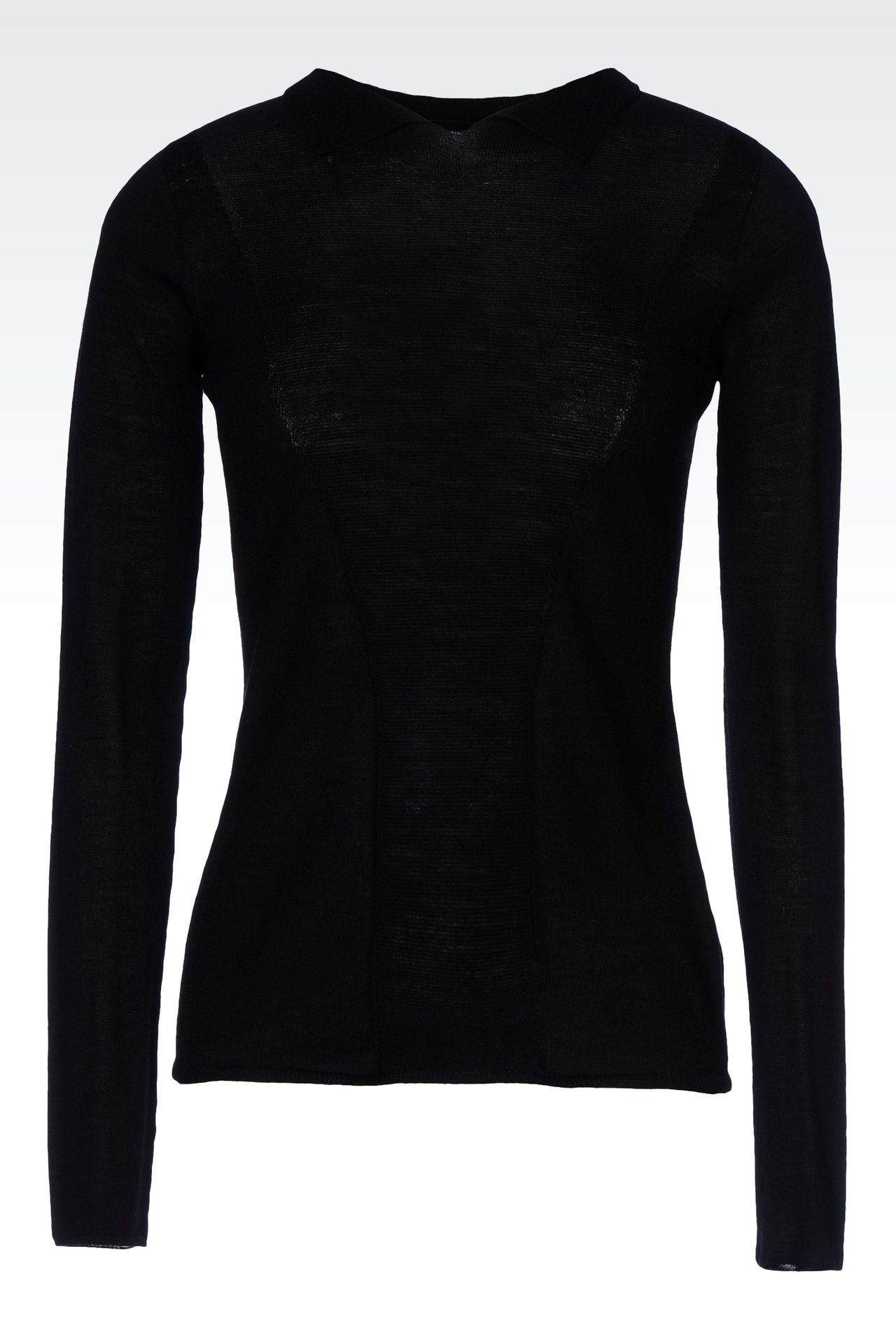 VIRGIN WOOL JUMPER WITH SHIRT COLLAR: Polo sweaters Women by Armani - 0