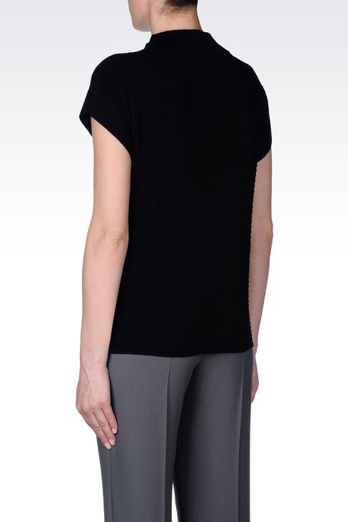 TOP IN STRIPED VISCOSE BLEND: Crewneck sweaters Women by Armani - 4