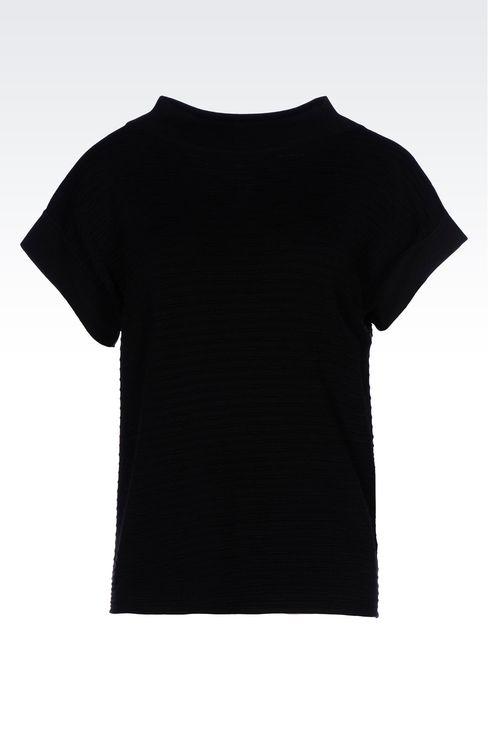 TOP IN STRIPED VISCOSE BLEND: Crewneck sweaters Women by Armani - 1