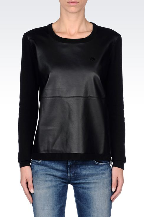CREW NECK JUMPER IN FAUX LEATHER AND WOOL: Crewneck sweaters Women by Armani - 3