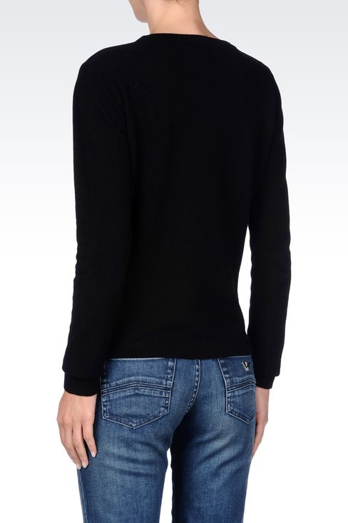 CREW NECK JUMPER IN FAUX LEATHER AND WOOL: Crewneck sweaters Women by Armani - 4