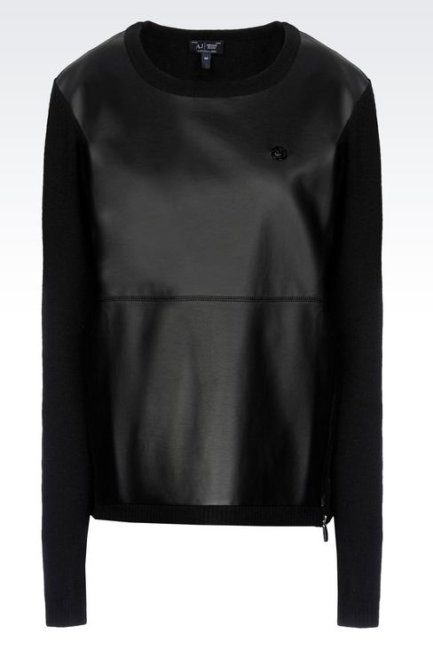 CREW NECK JUMPER IN FAUX LEATHER AND WOOL: Crewneck sweaters Women by Armani - 1