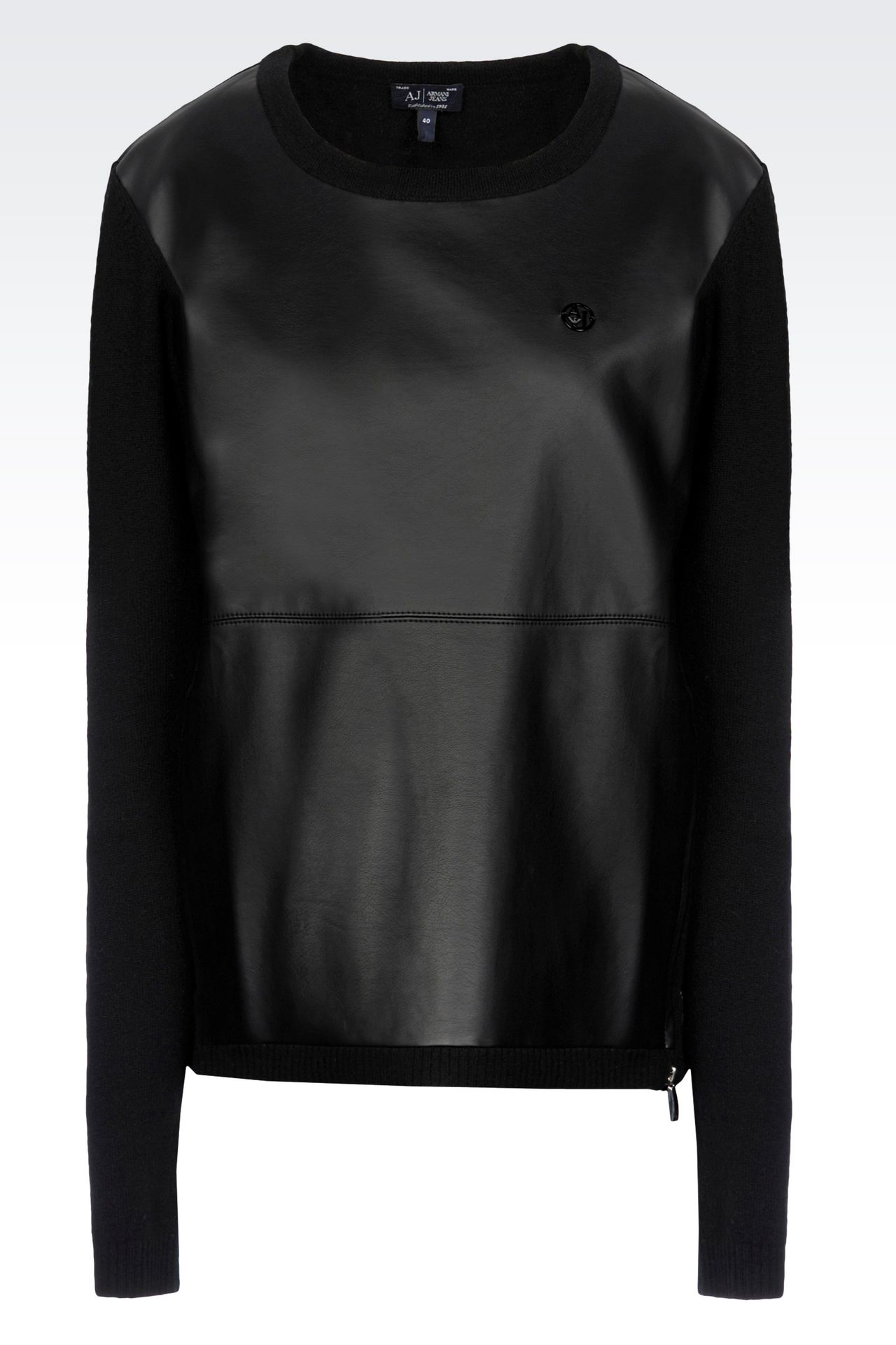 CREW NECK JUMPER IN FAUX LEATHER AND WOOL: Crewneck sweaters Women by Armani - 0