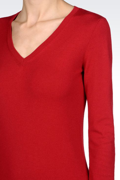 STRETCH VISCOSE V-NECK JUMPER: V  neck sweaters Women by Armani - 5