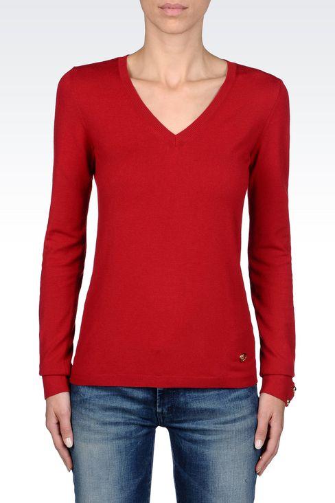 STRETCH VISCOSE V-NECK JUMPER: V  neck sweaters Women by Armani - 3