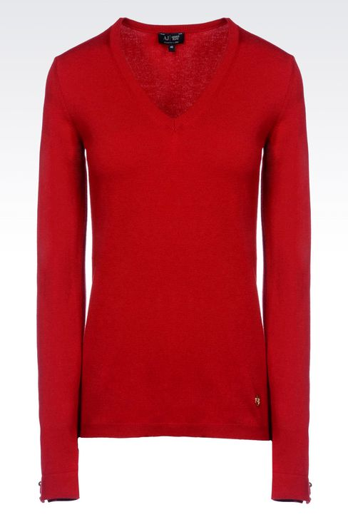 STRETCH VISCOSE V-NECK JUMPER: V  neck sweaters Women by Armani - 1