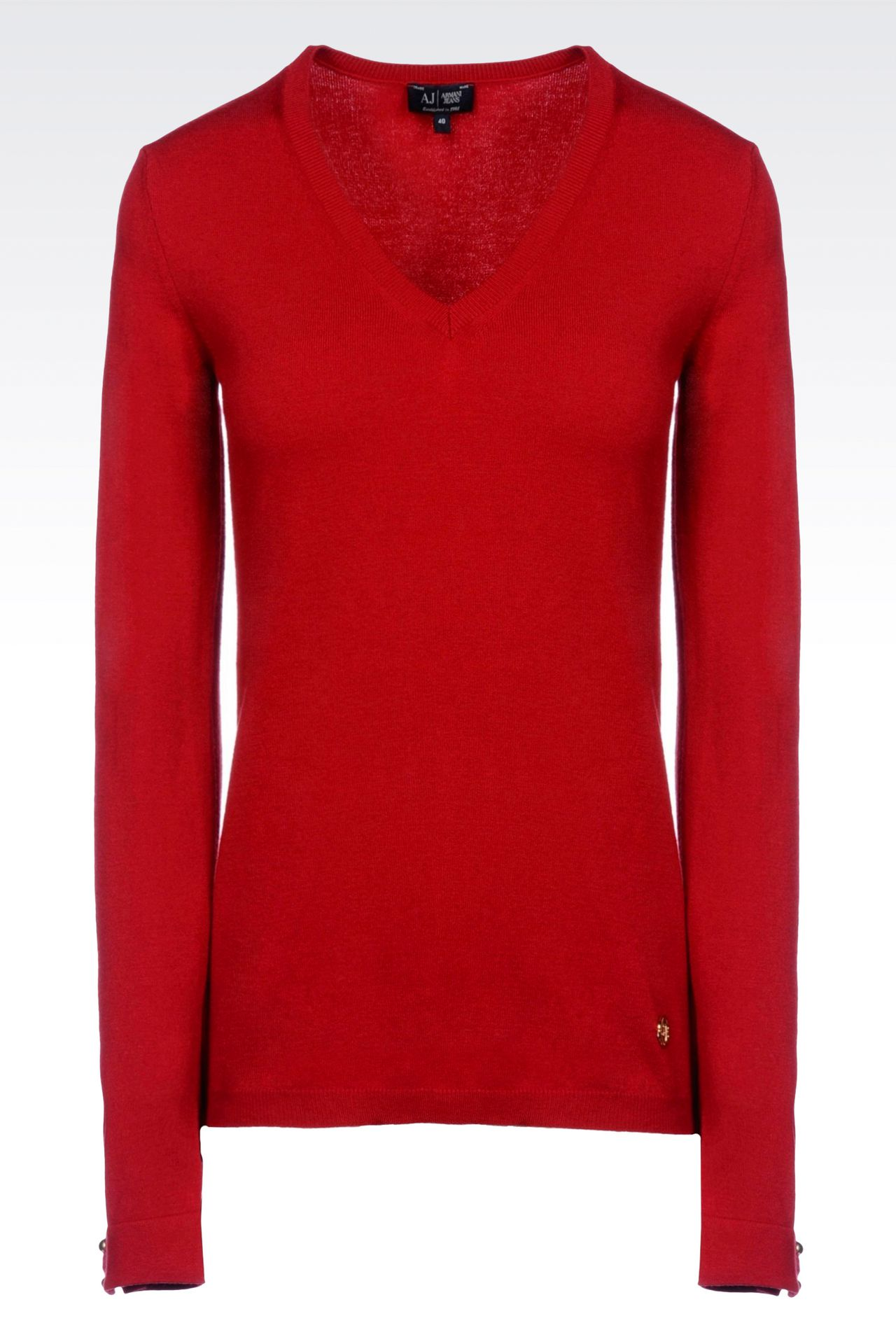 STRETCH VISCOSE V-NECK JUMPER: V  neck sweaters Women by Armani - 0