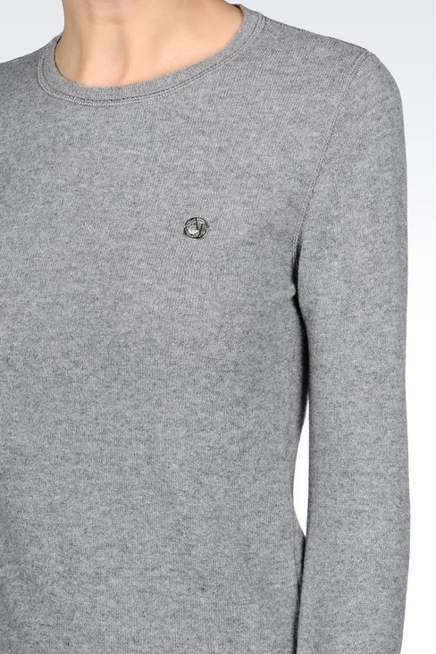 SWEATER IN WOOL BLEND: Crewneck sweaters Women by Armani - 5