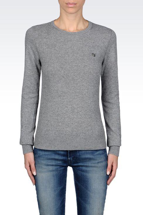 SWEATER IN WOOL BLEND: Crewneck sweaters Women by Armani - 3