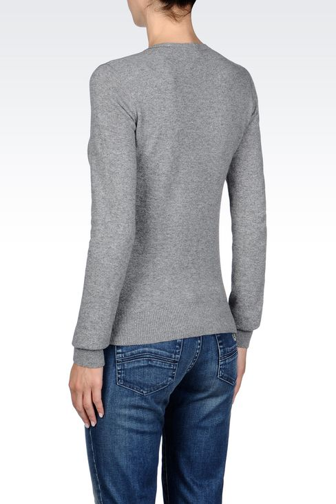 SWEATER IN WOOL BLEND: Crewneck sweaters Women by Armani - 4