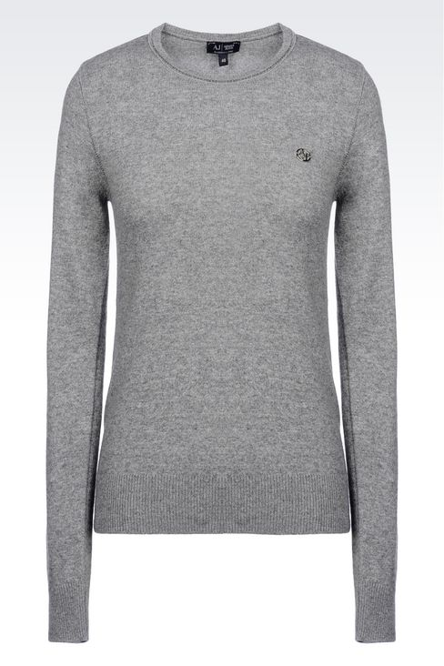 SWEATER IN WOOL BLEND: Crewneck sweaters Women by Armani - 1