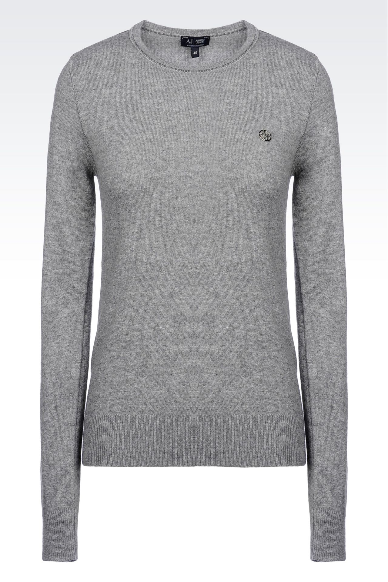 SWEATER IN WOOL BLEND: Crewneck sweaters Women by Armani - 0