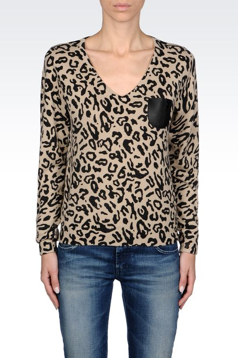 ANIMAL PRINT V-NECK JUMPER: V  neck sweaters Women by Armani - 3