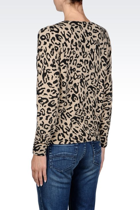 ANIMAL PRINT V-NECK JUMPER: V  neck sweaters Women by Armani - 4