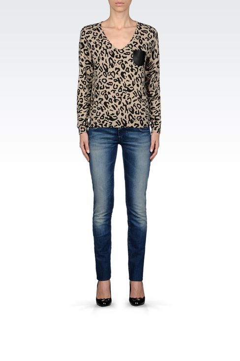 ANIMAL PRINT V-NECK JUMPER: V  neck sweaters Women by Armani - 2