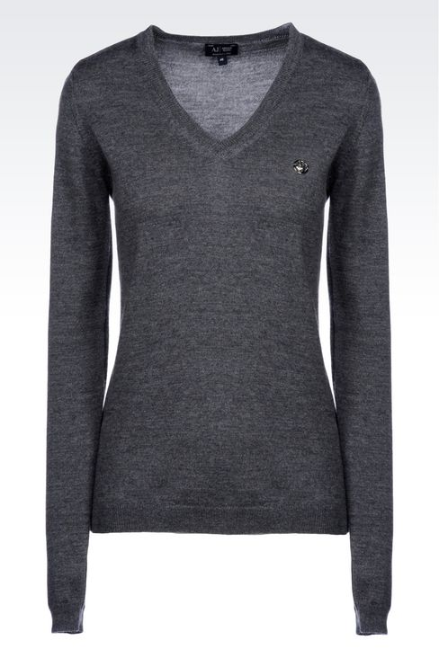V-NECK SWEATER IN VIRGIN WOOL: V  neck sweaters Women by Armani - 1