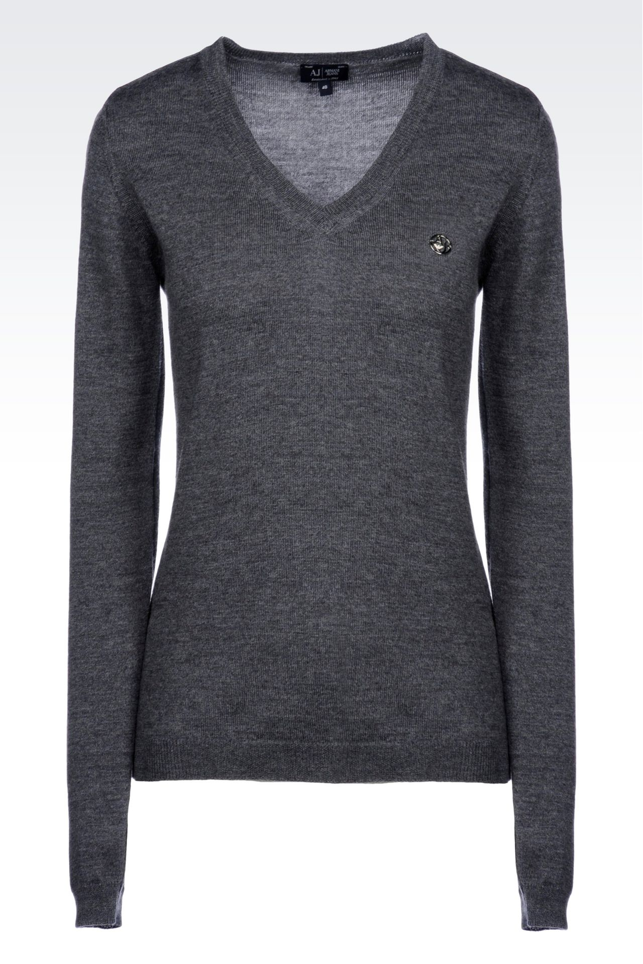 V-NECK SWEATER IN VIRGIN WOOL: V  neck sweaters Women by Armani - 0