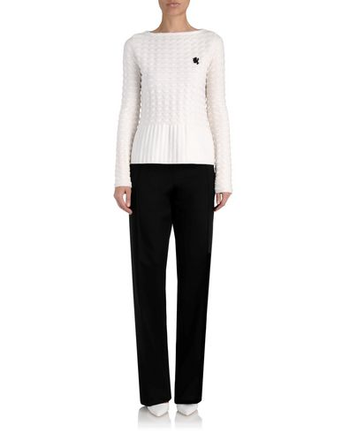 Merino Wool Textured Knit Peplum Sweater